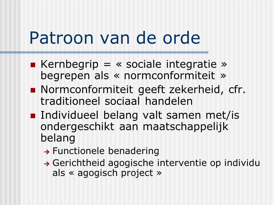 Patroon van de orde Kernbegrip = « sociale integratie » begrepen als « normconformiteit » Normconformiteit geeft zekerheid, cfr.