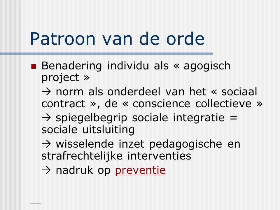 Patroon van de orde Benadering individu als « agogisch project »  norm als onderdeel van het « sociaal contract », de « conscience collectieve »  spiegelbegrip sociale integratie = sociale uitsluiting  wisselende inzet pedagogische en strafrechtelijke interventies  nadruk op preventie