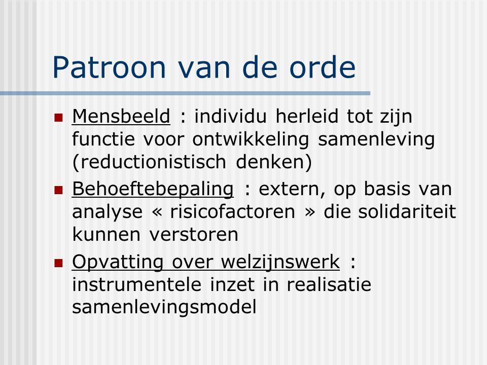 Patroon van de orde Mensbeeld : individu herleid tot zijn functie voor ontwikkeling samenleving (reductionistisch denken) Behoeftebepaling : extern, o
