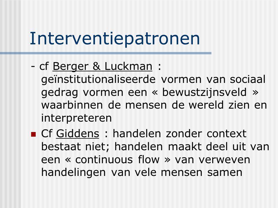 Interventiepatronen - cf Berger & Luckman : geïnstitutionaliseerde vormen van sociaal gedrag vormen een « bewustzijnsveld » waarbinnen de mensen de we