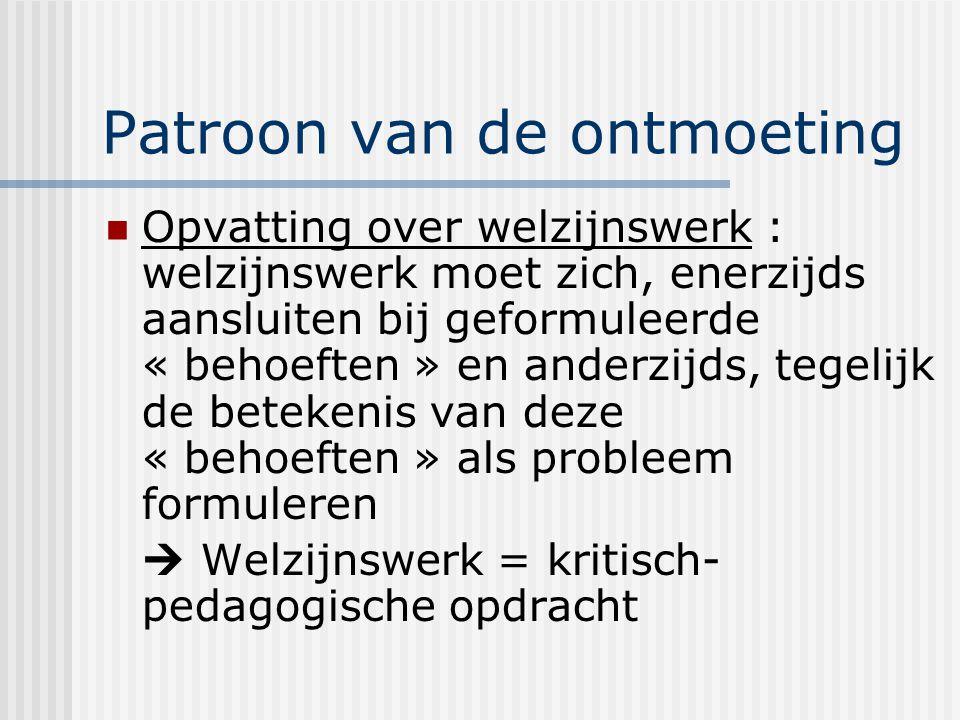 Patroon van de ontmoeting Opvatting over welzijnswerk : welzijnswerk moet zich, enerzijds aansluiten bij geformuleerde « behoeften » en anderzijds, te