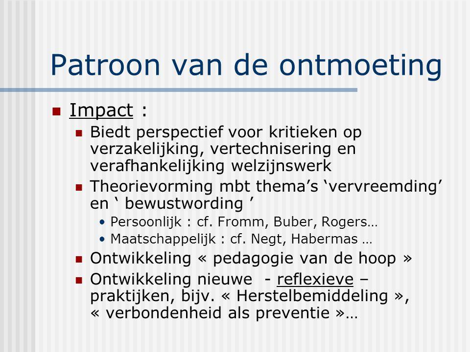 Patroon van de ontmoeting Impact : Biedt perspectief voor kritieken op verzakelijking, vertechnisering en verafhankelijking welzijnswerk Theorievorming mbt thema's 'vervreemding' en ' bewustwording ' Persoonlijk : cf.