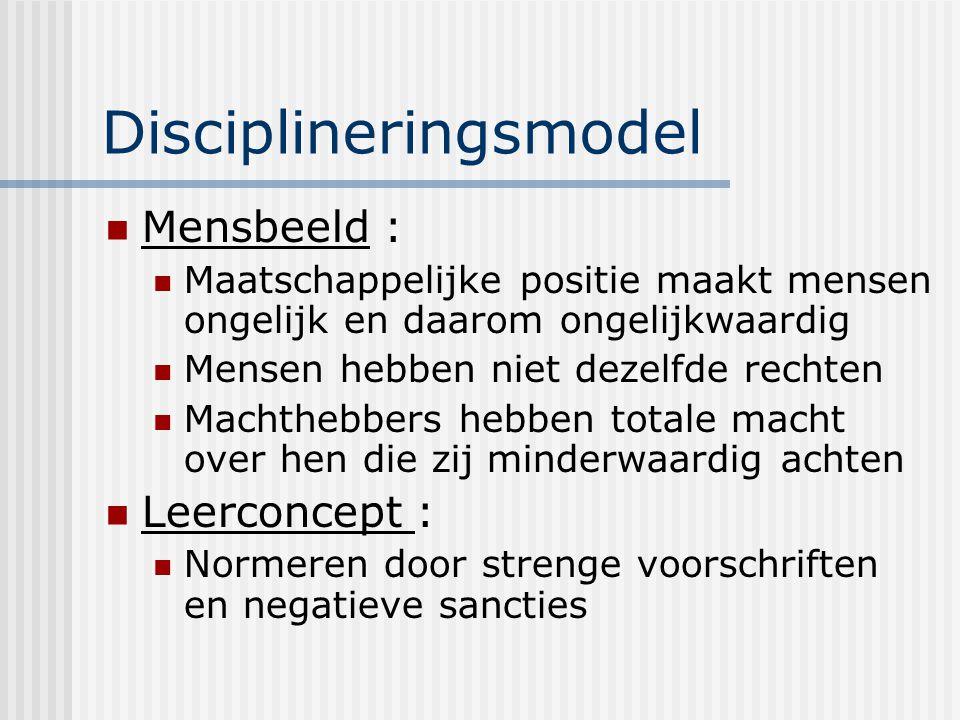 Disciplineringsmodel Mensbeeld : Maatschappelijke positie maakt mensen ongelijk en daarom ongelijkwaardig Mensen hebben niet dezelfde rechten Machtheb