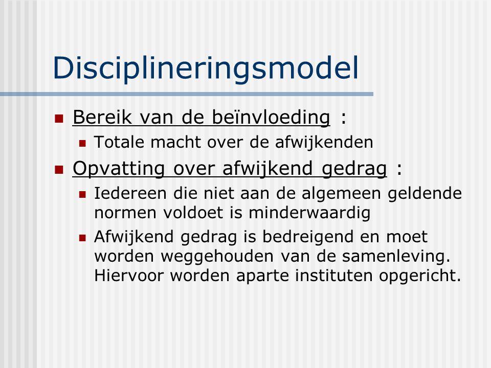 Disciplineringsmodel Bereik van de beïnvloeding : Totale macht over de afwijkenden Opvatting over afwijkend gedrag : Iedereen die niet aan de algemeen