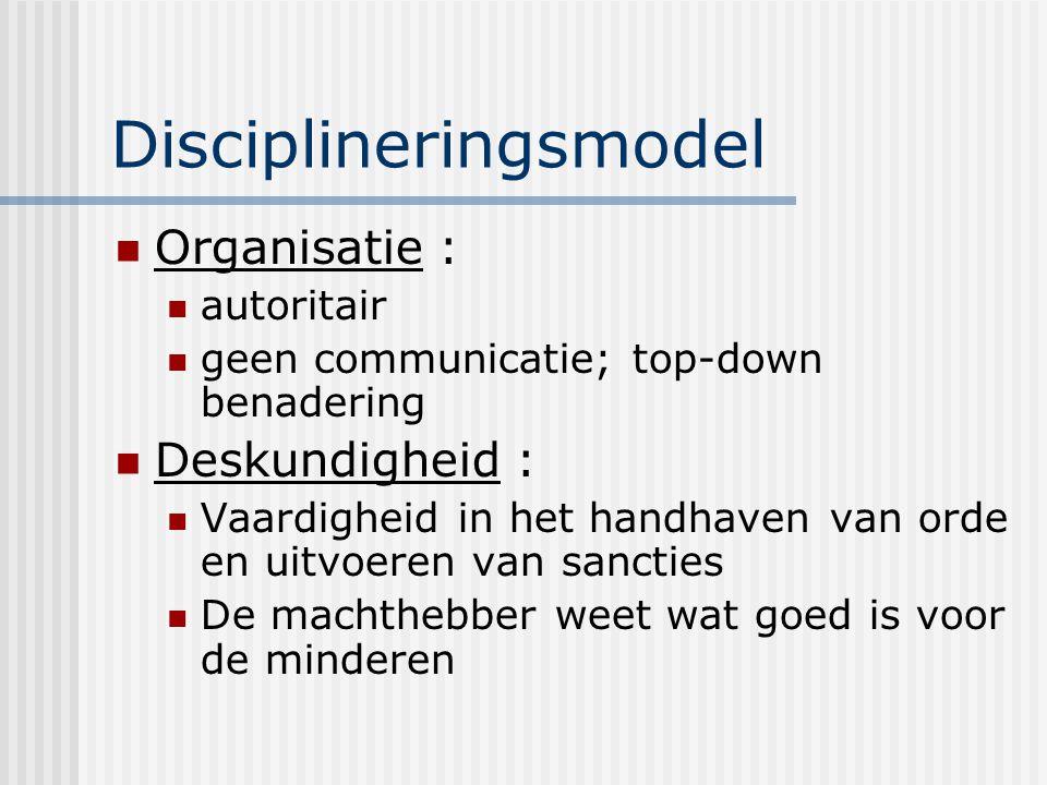 Disciplineringsmodel Organisatie : autoritair geen communicatie; top-down benadering Deskundigheid : Vaardigheid in het handhaven van orde en uitvoere