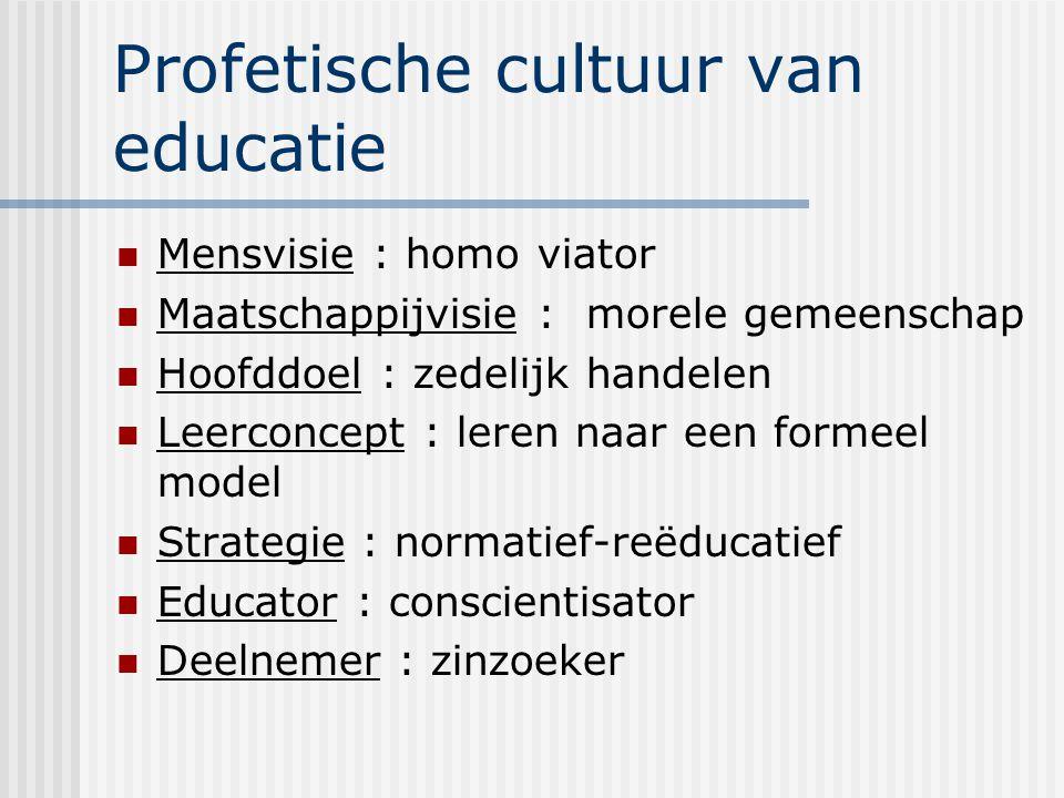 Profetische cultuur van educatie Mensvisie : homo viator Maatschappijvisie : morele gemeenschap Hoofddoel : zedelijk handelen Leerconcept : leren naar een formeel model Strategie : normatief-reëducatief Educator : conscientisator Deelnemer : zinzoeker
