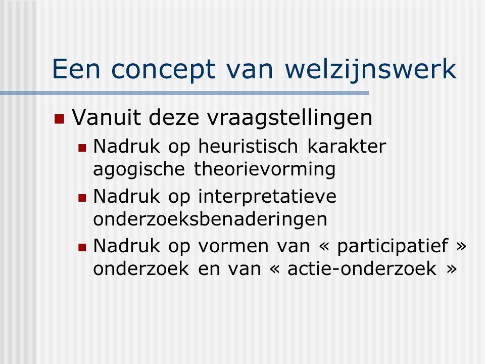 Een concept van welzijnswerk Vanuit deze vraagstellingen Nadruk op heuristisch karakter agogische theorievorming Nadruk op interpretatieve onderzoeksbenaderingen Nadruk op vormen van « participatief » onderzoek en van « actie-onderzoek »