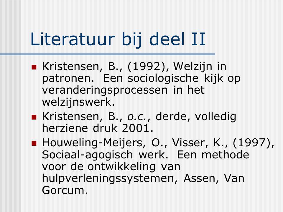 Literatuur bij deel II Kristensen, B., (1992), Welzijn in patronen. Een sociologische kijk op veranderingsprocessen in het welzijnswerk. Kristensen, B