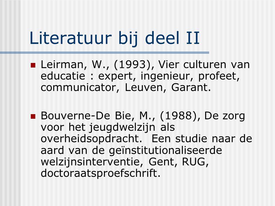 Literatuur bij deel II Leirman, W., (1993), Vier culturen van educatie : expert, ingenieur, profeet, communicator, Leuven, Garant. Bouverne-De Bie, M.