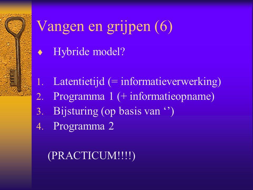 Vangen en grijpen (6)  Hybride model? 1. Latentietijd (= informatieverwerking) 2. Programma 1 (+ informatieopname) 3. Bijsturing (op basis van '') 4.