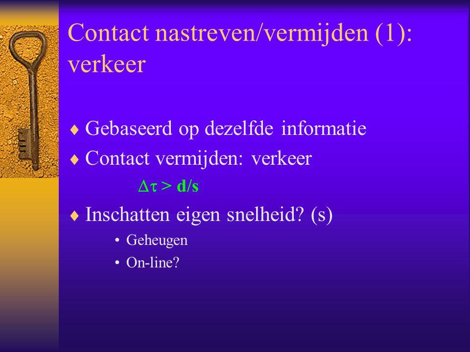 Contact nastreven/vermijden (1): verkeer  Gebaseerd op dezelfde informatie  Contact vermijden: verkeer  > d/s  Inschatten eigen snelheid? (s) Geh