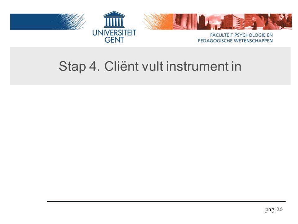 Stap 4. Cliënt vult instrument in pag. 20