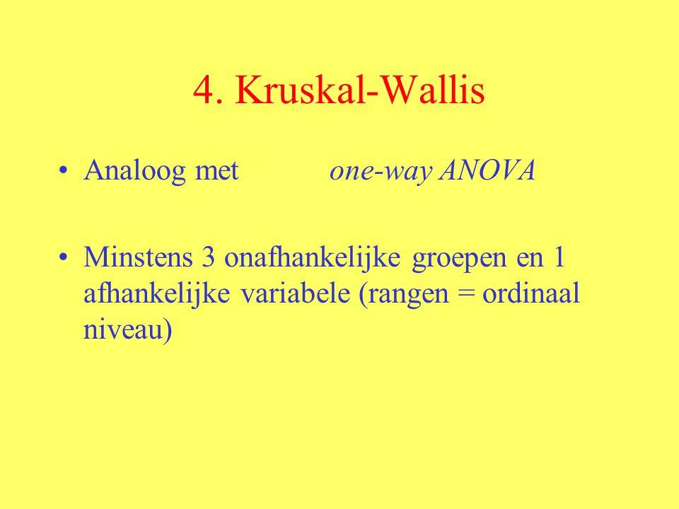 4. Kruskal-Wallis Analoog met one-way ANOVA Minstens 3 onafhankelijke groepen en 1 afhankelijke variabele (rangen = ordinaal niveau)