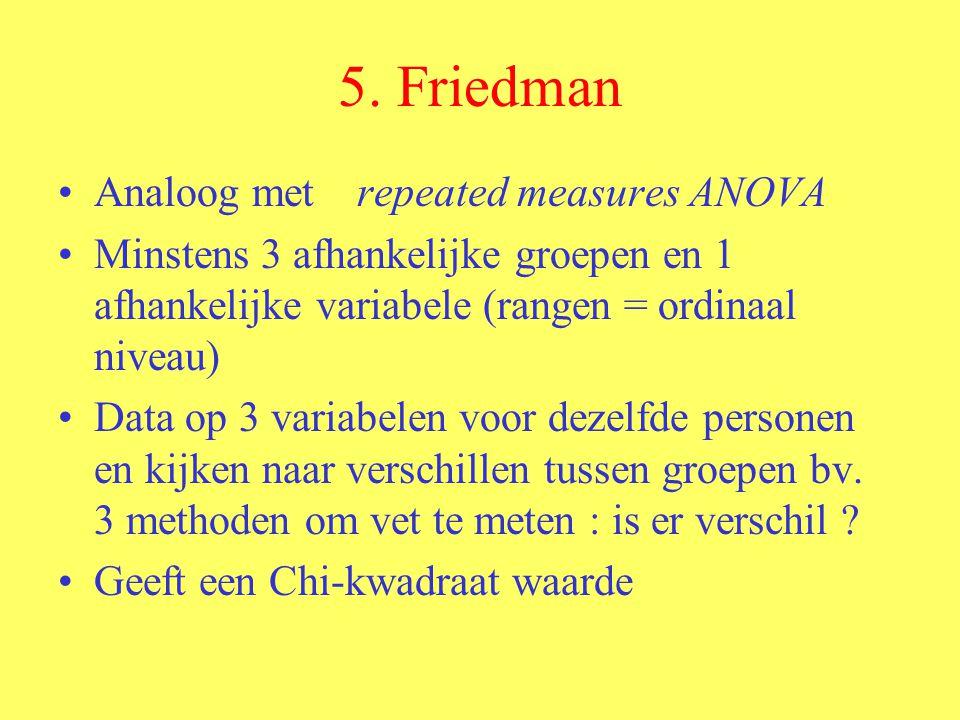 5. Friedman Analoog met repeated measures ANOVA Minstens 3 afhankelijke groepen en 1 afhankelijke variabele (rangen = ordinaal niveau) Data op 3 varia
