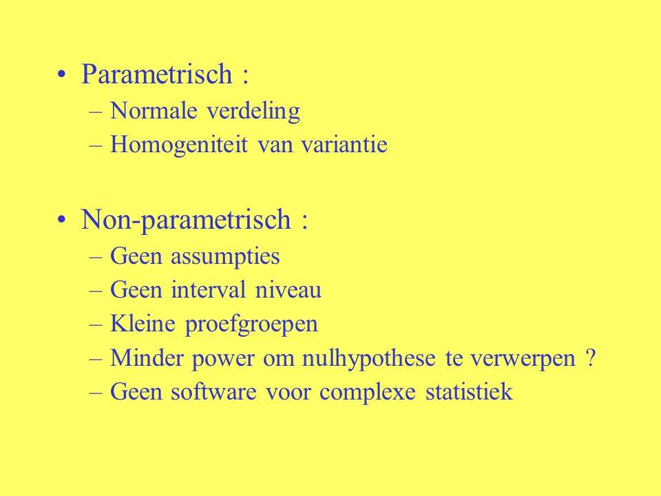 Parametrisch : –Normale verdeling –Homogeniteit van variantie Non-parametrisch : –Geen assumpties –Geen interval niveau –Kleine proefgroepen –Minder p