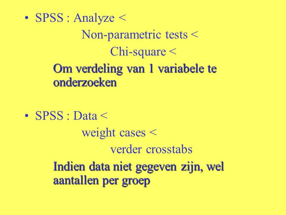 SPSS : Analyze < Non-parametric tests < Chi-square < Om verdeling van 1 variabele te onderzoeken SPSS : Data < weight cases < verder crosstabs Indien