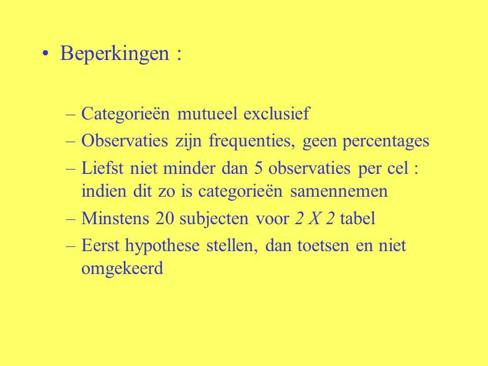 Beperkingen : –Categorieën mutueel exclusief –Observaties zijn frequenties, geen percentages –Liefst niet minder dan 5 observaties per cel : indien di