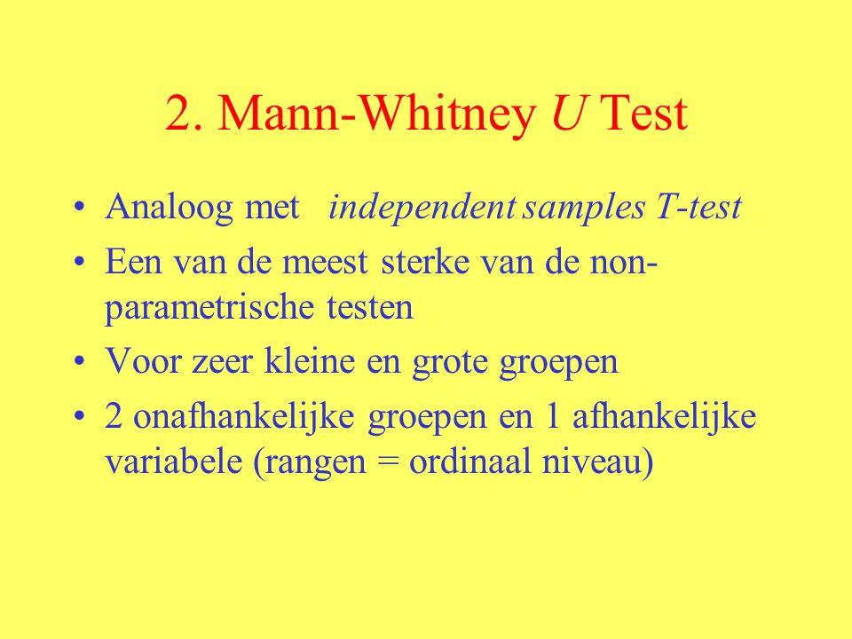 2. Mann-Whitney U Test Analoog met independent samples T-test Een van de meest sterke van de non- parametrische testen Voor zeer kleine en grote groep
