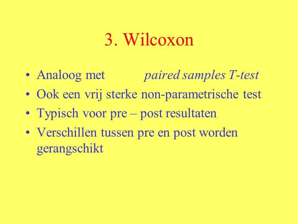 3. Wilcoxon Analoog met paired samples T-test Ook een vrij sterke non-parametrische test Typisch voor pre – post resultaten Verschillen tussen pre en