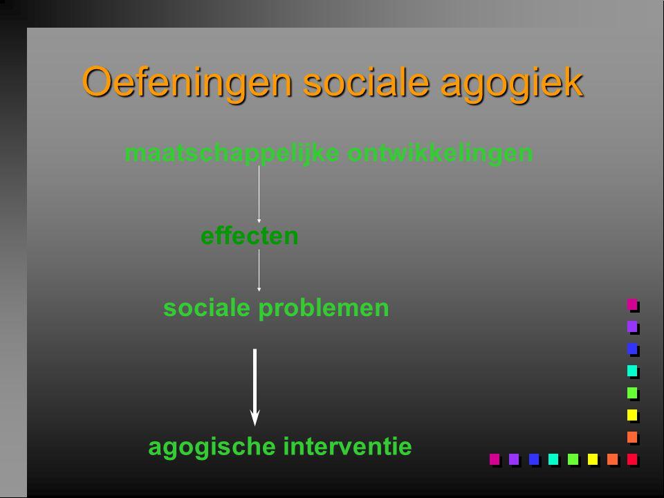 Oefeningen sociale agogiek maatschappelijke ontwikkelingen sociale problemen agogische interventie effecten
