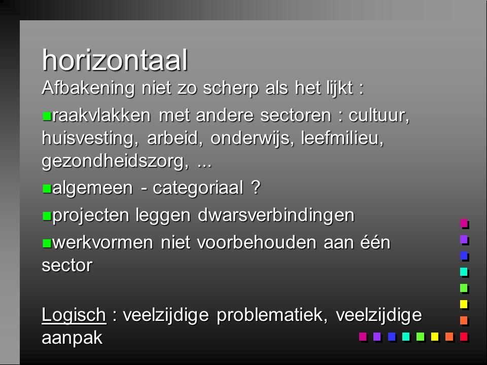 horizontaal Afbakening niet zo scherp als het lijkt : n raakvlakken met andere sectoren : cultuur, huisvesting, arbeid, onderwijs, leefmilieu, gezondh
