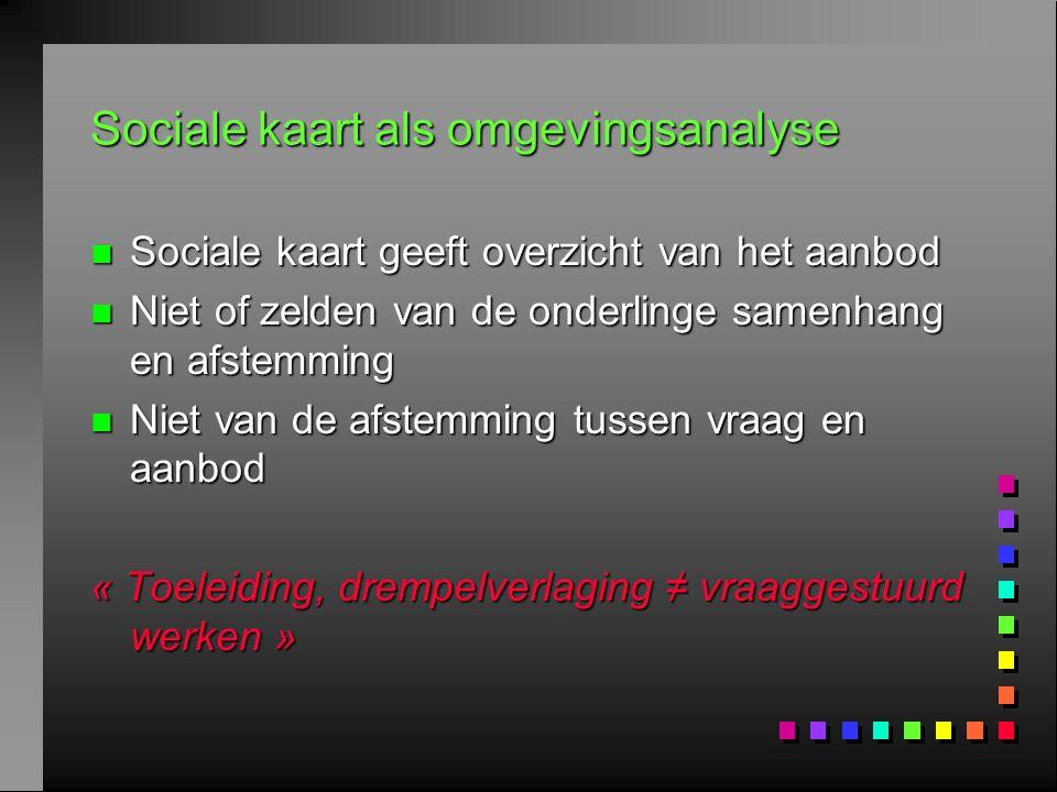 Sociale kaart als omgevingsanalyse n Sociale kaart geeft overzicht van het aanbod n Niet of zelden van de onderlinge samenhang en afstemming n Niet va