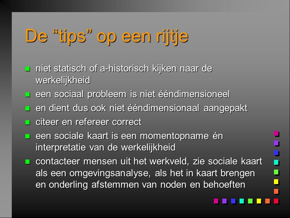 """De """"tips"""" op een rijtje n niet statisch of a-historisch kijken naar de werkelijkheid n een sociaal probleem is niet ééndimensioneel n en dient dus ook"""