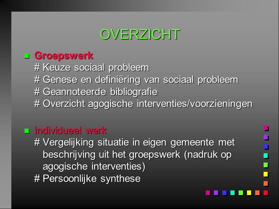 OVERZICHT n Groepswerk # Keuze sociaal probleem # Genese en definiëring van sociaal probleem # Geannoteerde bibliografie # Overzicht agogische interve