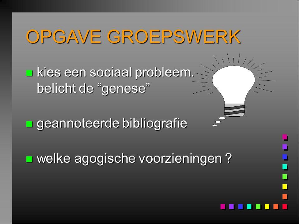 """OPGAVE GROEPSWERK n kies een sociaal probleem. belicht de """"genese"""" n geannoteerde bibliografie n welke agogische voorzieningen ?"""