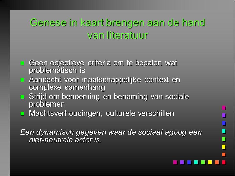 Genese in kaart brengen aan de hand van literatuur n Geen objectieve criteria om te bepalen wat problematisch is n Aandacht voor maatschappelijke cont