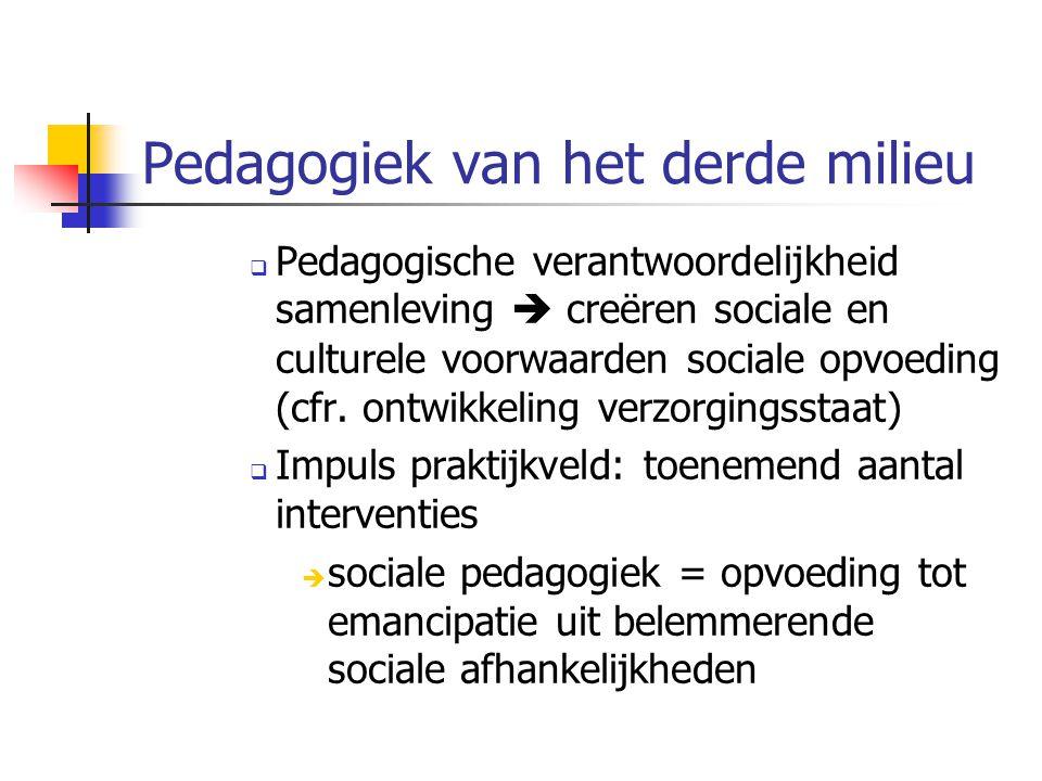 Pedagogiek van het derde milieu  Pedagogische verantwoordelijkheid samenleving  creëren sociale en culturele voorwaarden sociale opvoeding (cfr.
