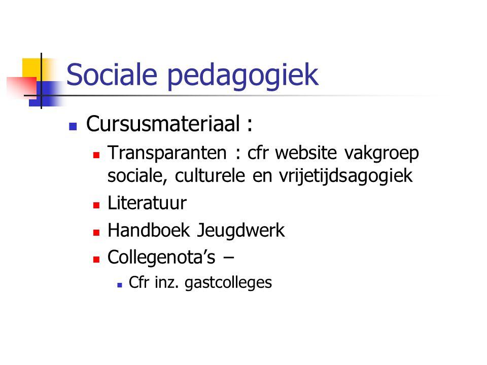 Cursusmateriaal : Transparanten : cfr website vakgroep sociale, culturele en vrijetijdsagogiek Literatuur Handboek Jeugdwerk Collegenota's – Cfr inz.