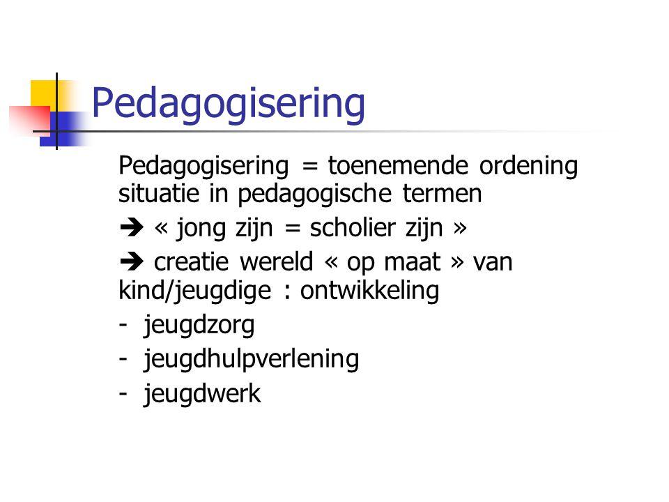 Pedagogisering Pedagogisering = toenemende ordening situatie in pedagogische termen  « jong zijn = scholier zijn »  creatie wereld « op maat » van kind/jeugdige : ontwikkeling - jeugdzorg - jeugdhulpverlening - jeugdwerk