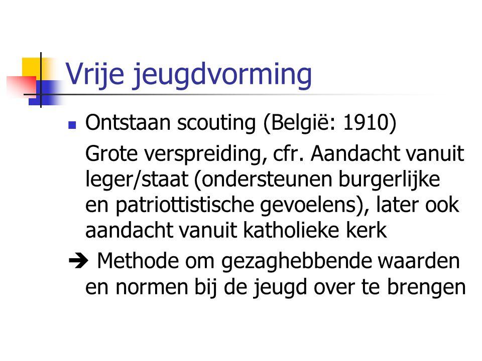Vrije jeugdvorming Ontstaan scouting (België: 1910) Grote verspreiding, cfr.