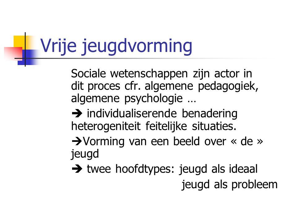 Vrije jeugdvorming Sociale wetenschappen zijn actor in dit proces cfr.