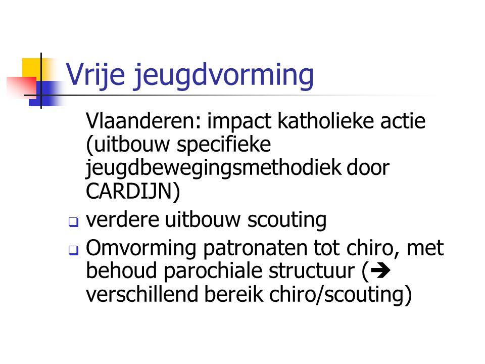 Vrije jeugdvorming Vlaanderen: impact katholieke actie (uitbouw specifieke jeugdbewegingsmethodiek door CARDIJN)  verdere uitbouw scouting  Omvorming patronaten tot chiro, met behoud parochiale structuur (  verschillend bereik chiro/scouting)