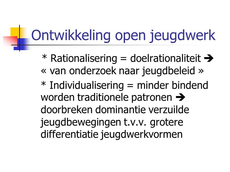 Ontwikkeling open jeugdwerk * Rationalisering = doelrationaliteit  « van onderzoek naar jeugdbeleid » * Individualisering = minder bindend worden traditionele patronen  doorbreken dominantie verzuilde jeugdbewegingen t.v.v.