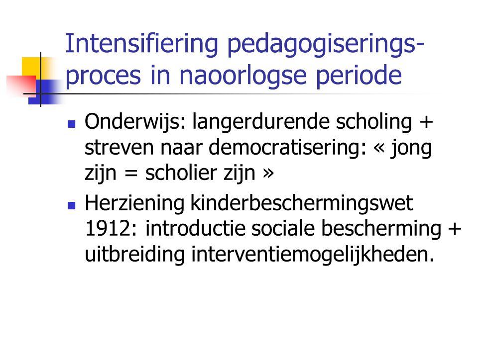 Intensifiering pedagogiserings- proces in naoorlogse periode Onderwijs: langerdurende scholing + streven naar democratisering: « jong zijn = scholier zijn » Herziening kinderbeschermingswet 1912: introductie sociale bescherming + uitbreiding interventiemogelijkheden.