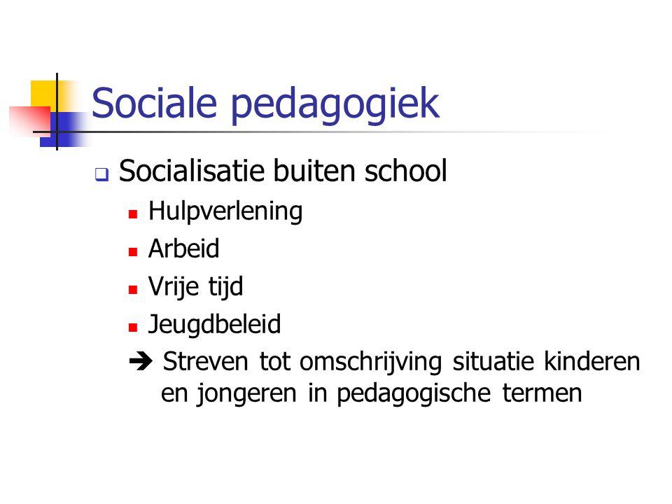  Socialisatie buiten school Hulpverlening Arbeid Vrije tijd Jeugdbeleid  Streven tot omschrijving situatie kinderen en jongeren in pedagogische termen