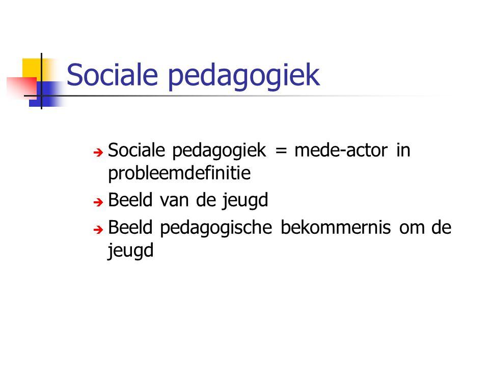 Sociale pedagogiek  Sociale pedagogiek = mede-actor in probleemdefinitie  Beeld van de jeugd  Beeld pedagogische bekommernis om de jeugd