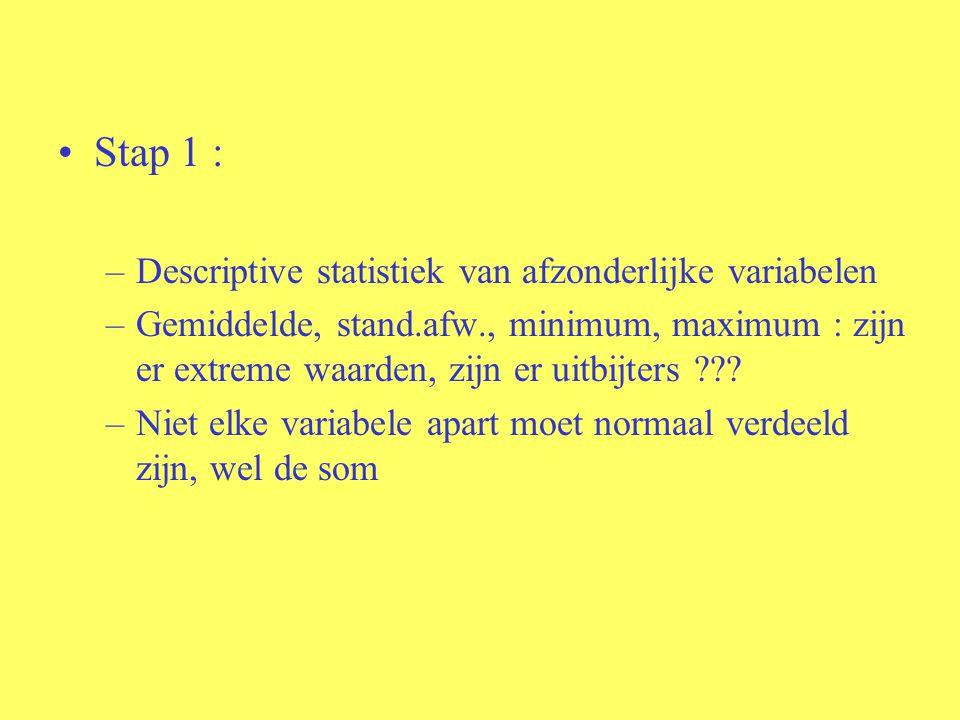 Stap 1 : –Descriptive statistiek van afzonderlijke variabelen –Gemiddelde, stand.afw., minimum, maximum : zijn er extreme waarden, zijn er uitbijters