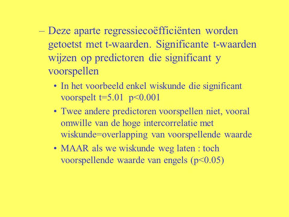 –Deze aparte regressiecoëfficiënten worden getoetst met t-waarden. Significante t-waarden wijzen op predictoren die significant y voorspellen In het v