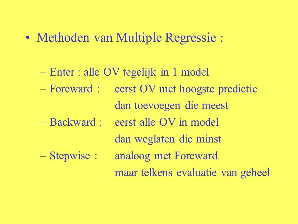 Methoden van Multiple Regressie : –Enter : alle OV tegelijk in 1 model –Foreward : eerst OV met hoogste predictie dan toevoegen die meest –Backward :