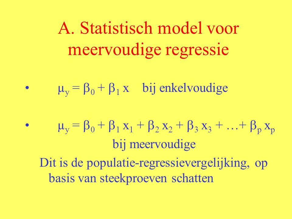 A. Statistisch model voor meervoudige regressie µ y =  0 +  1 x bij enkelvoudige µ y =  0 +  1 x 1 +  2 x 2 +  3 x 3 + …+  p x p bij meervoudig