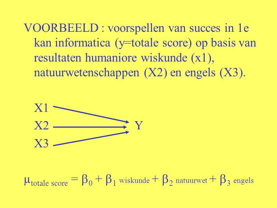 VOORBEELD : voorspellen van succes in 1e kan informatica (y=totale score) op basis van resultaten humaniore wiskunde (x1), natuurwetenschappen (X2) en