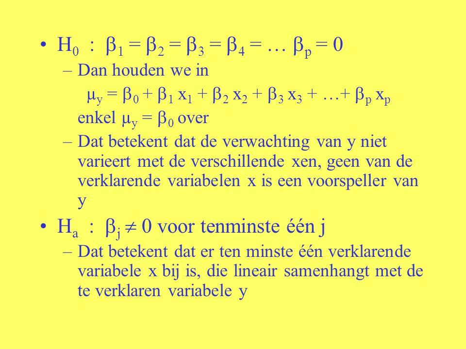 H 0 :  1 =  2 =  3 =  4 = …  p = 0 –Dan houden we in µ y =  0 +  1 x 1 +  2 x 2 +  3 x 3 + …+  p x p enkel µ y =  0 over –Dat betekent dat
