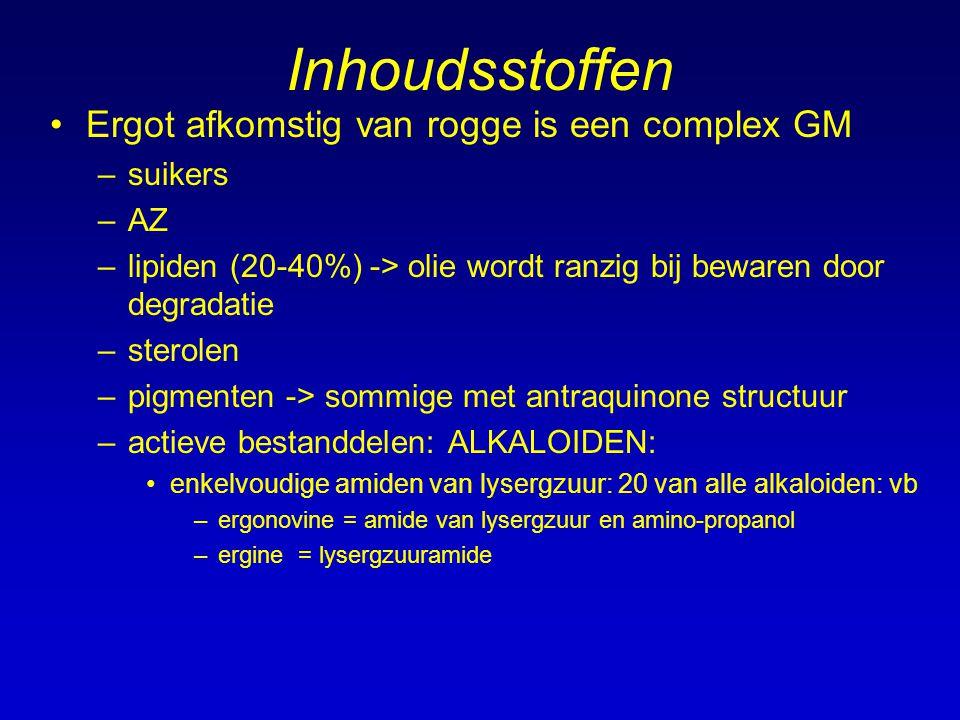 Inhoudsstoffen Ergot afkomstig van rogge is een complex GM –suikers –AZ –lipiden (20-40%) -> olie wordt ranzig bij bewaren door degradatie –sterolen –