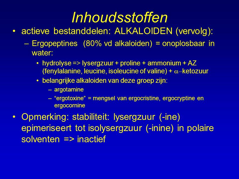 Inhoudsstoffen actieve bestanddelen: ALKALOIDEN (vervolg): –Ergopeptines (80% vd alkaloiden) = onoplosbaar in water: hydrolyse => lysergzuur + proline