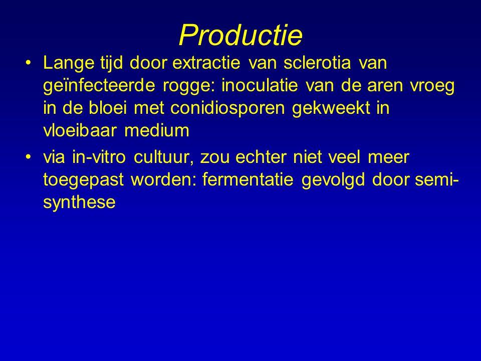 Productie Lange tijd door extractie van sclerotia van geïnfecteerde rogge: inoculatie van de aren vroeg in de bloei met conidiosporen gekweekt in vloe
