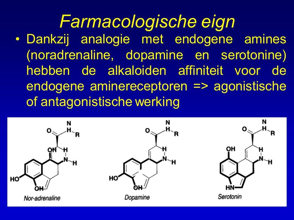 Farmacologische eign Dankzij analogie met endogene amines (noradrenaline, dopamine en serotonine) hebben de alkaloiden affiniteit voor de endogene ami